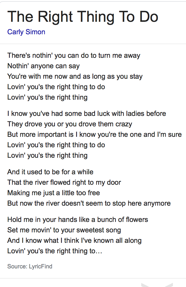 The Right Thing To Do - lyrics- legally obtained from -Google